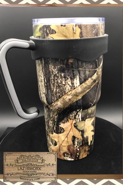 20 oz laser engraved RTIC camouflage tumbler