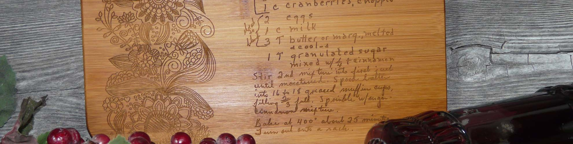 Laser Engraved Hand-written Recipe Cutting Board