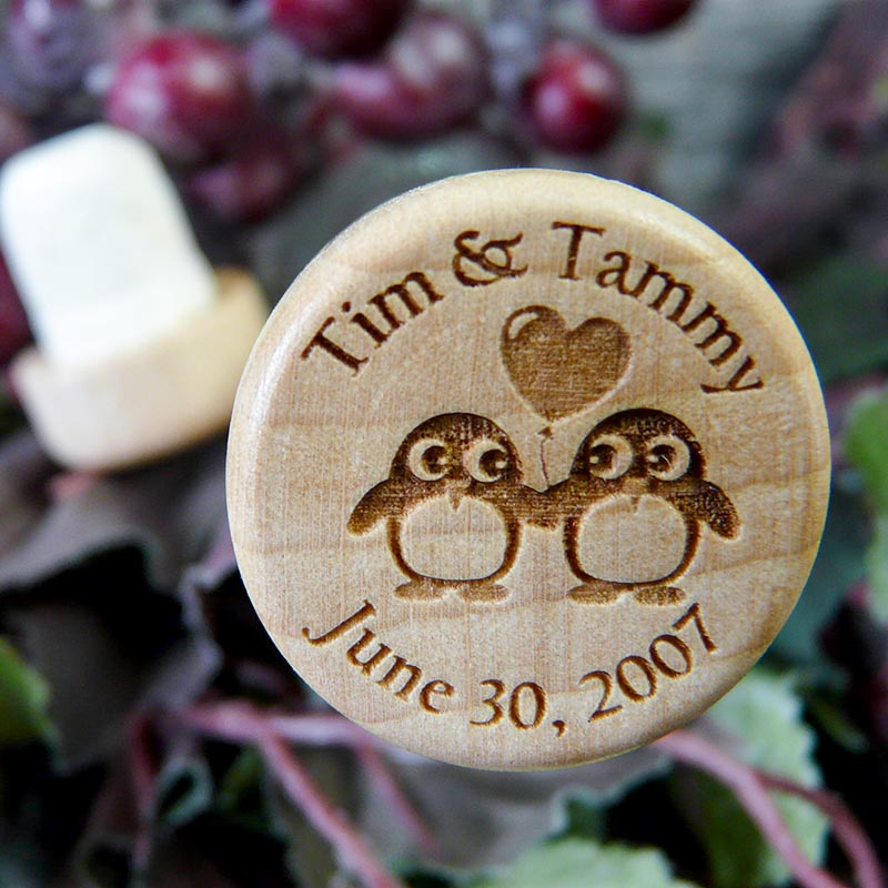 Personalized Penguin Wine Cork Wedding Favor