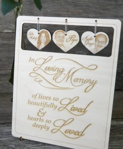 Large 3-photo hanging heart memorial table sign