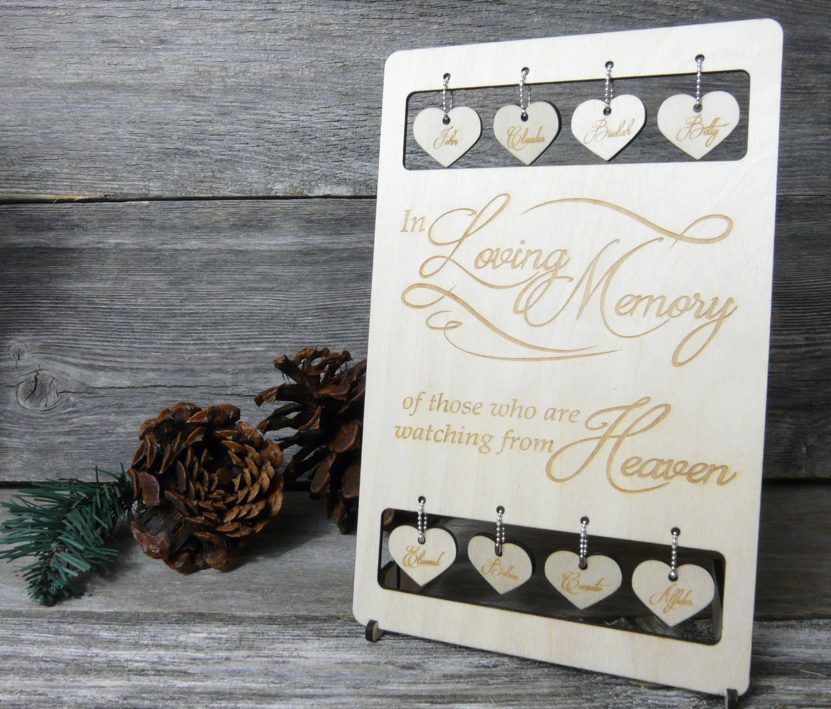 "Small wedding ""In Memory"" memorial table sign, laser cut hearts"