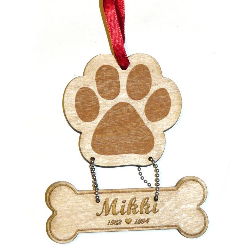 Keepsake Personalized Engraved Memorial Dog Christmas Ornament