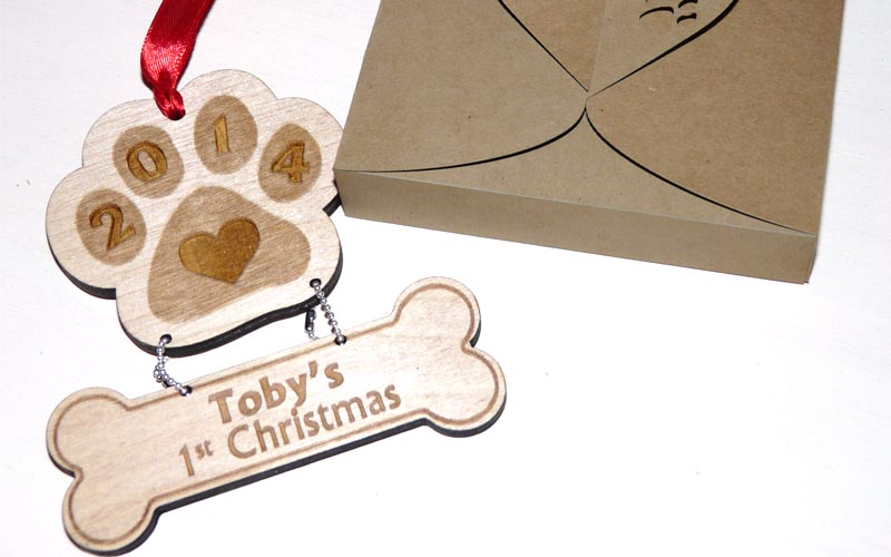 Personalized Puppy's First Christmas Ornament Paw Bone