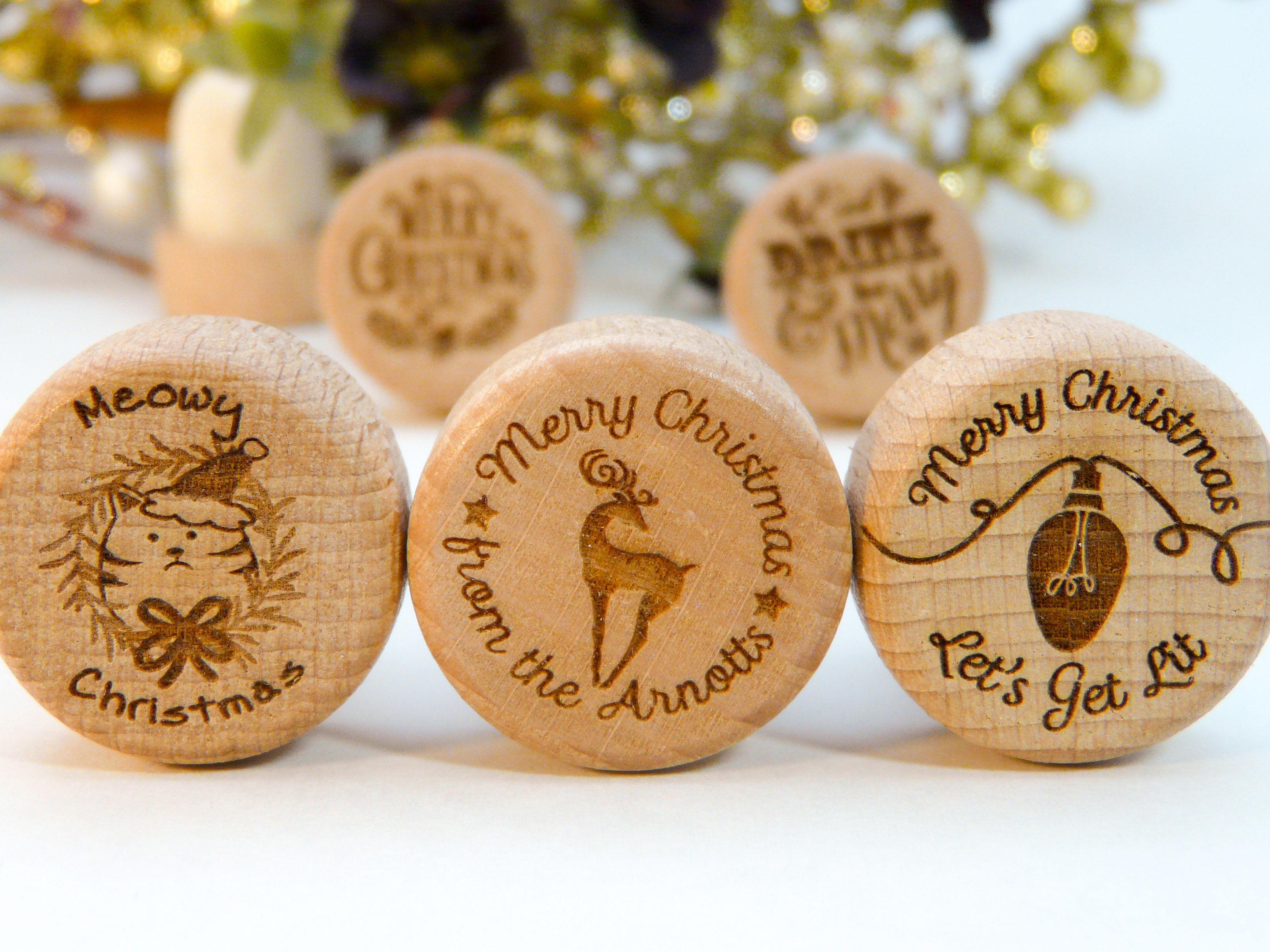 Christmas Holiday Personalized Wine Stoppers