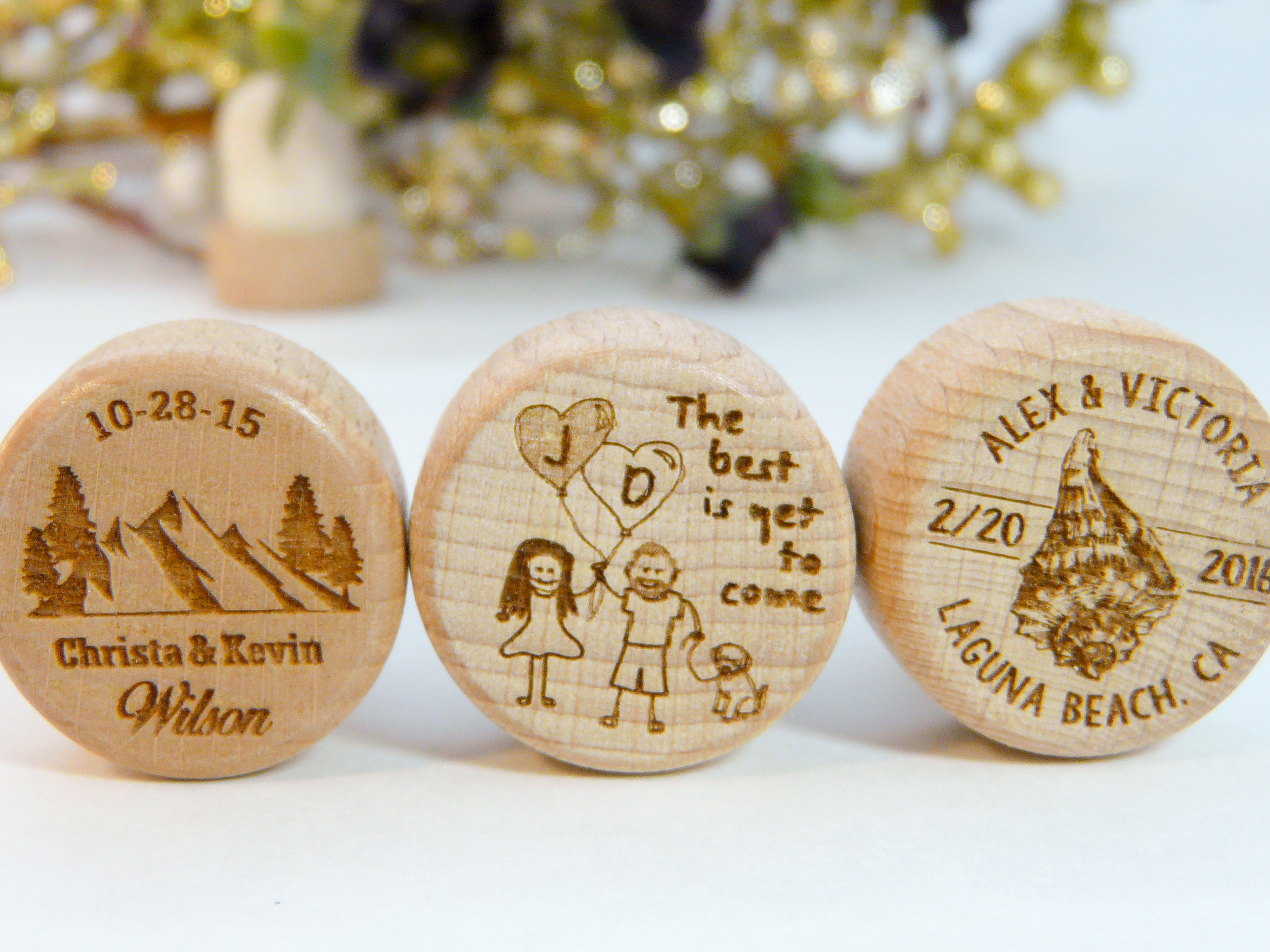 Destination Wedding Personalized Wine Stoppers