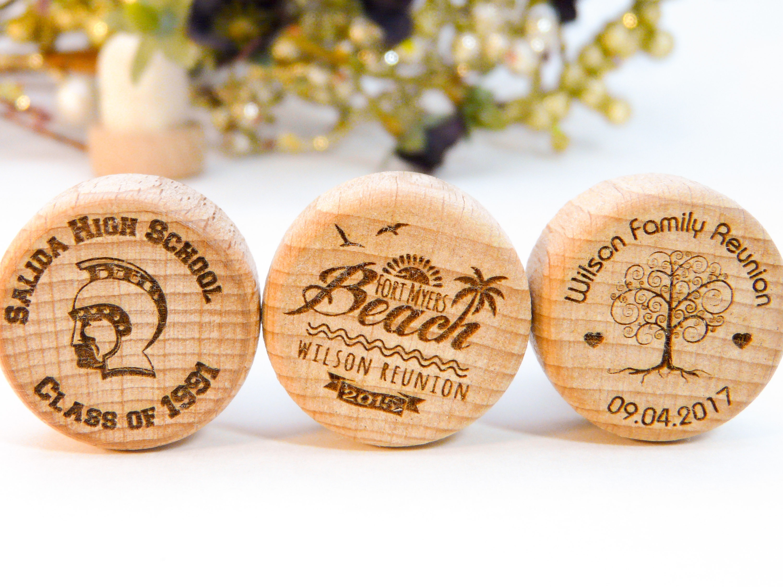 Anniversary and Reunion Personalized Wine Stoppers