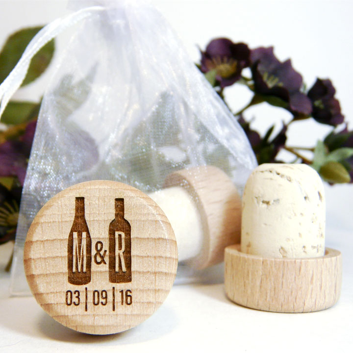 Personalized Wine Cork With Two Bottles Monogram And Wedding Date