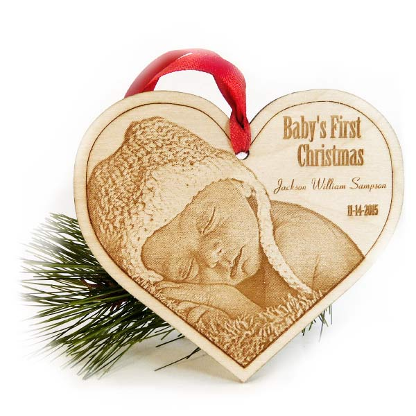 Baby 39 s first christmas ornament laser engraved wood for Personalized christmas photo ornaments