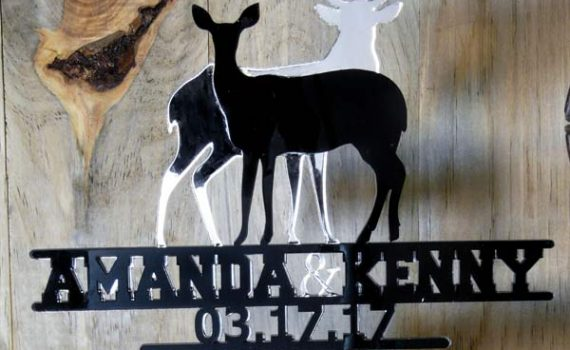 Buck and Doe Mirror Personalized Wedding Cake Topper