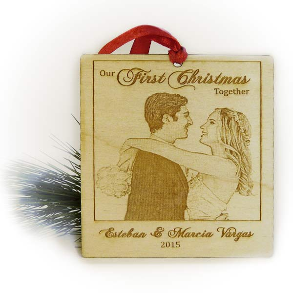 Our First Christmas Ornament - Laser Engraved Wood Polaroid Photo ...