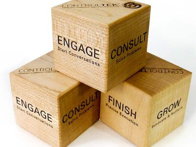 Personalized Blocks - Engraved wooden building blocks with your business logo or custom text/photo.