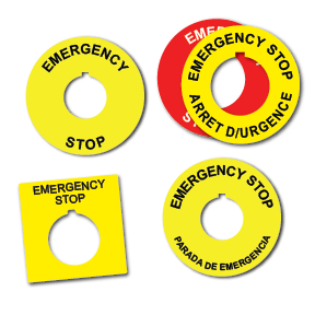 Engraved Emergency Stop Push Button Label Placard