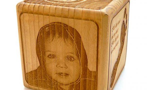 """Laser Engraved Photo on Wood - 3.5"""" Personalized Baby Block"""