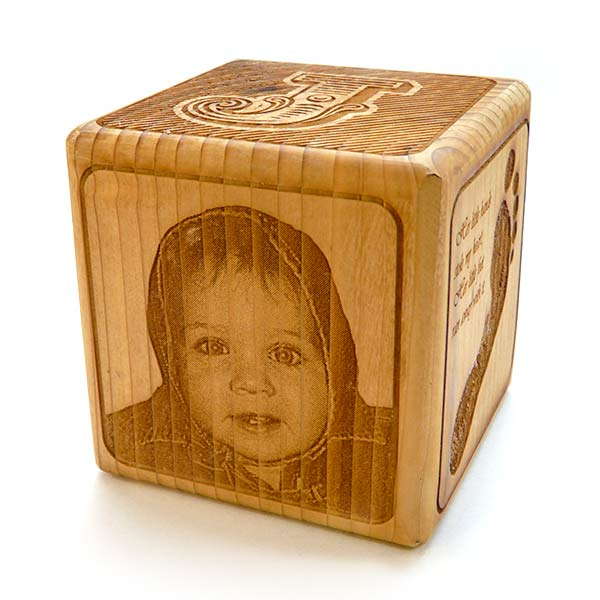 "Laser Engraved Photo on Wood - 3.5"" Personalized Baby Block"