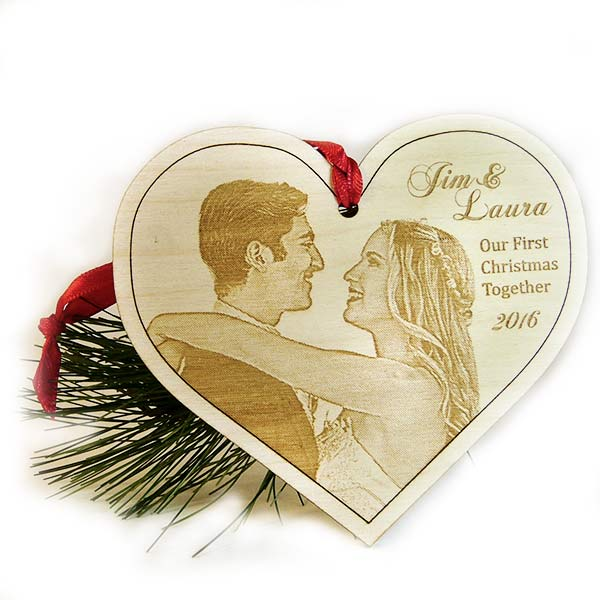 Our First Christmas Personalized Christmas Ornament, Wooden Photo Heart