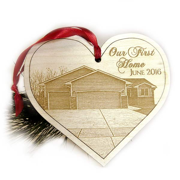 Our First Home Christmas Personalized Christmas Ornament, Wooden Photo Heart