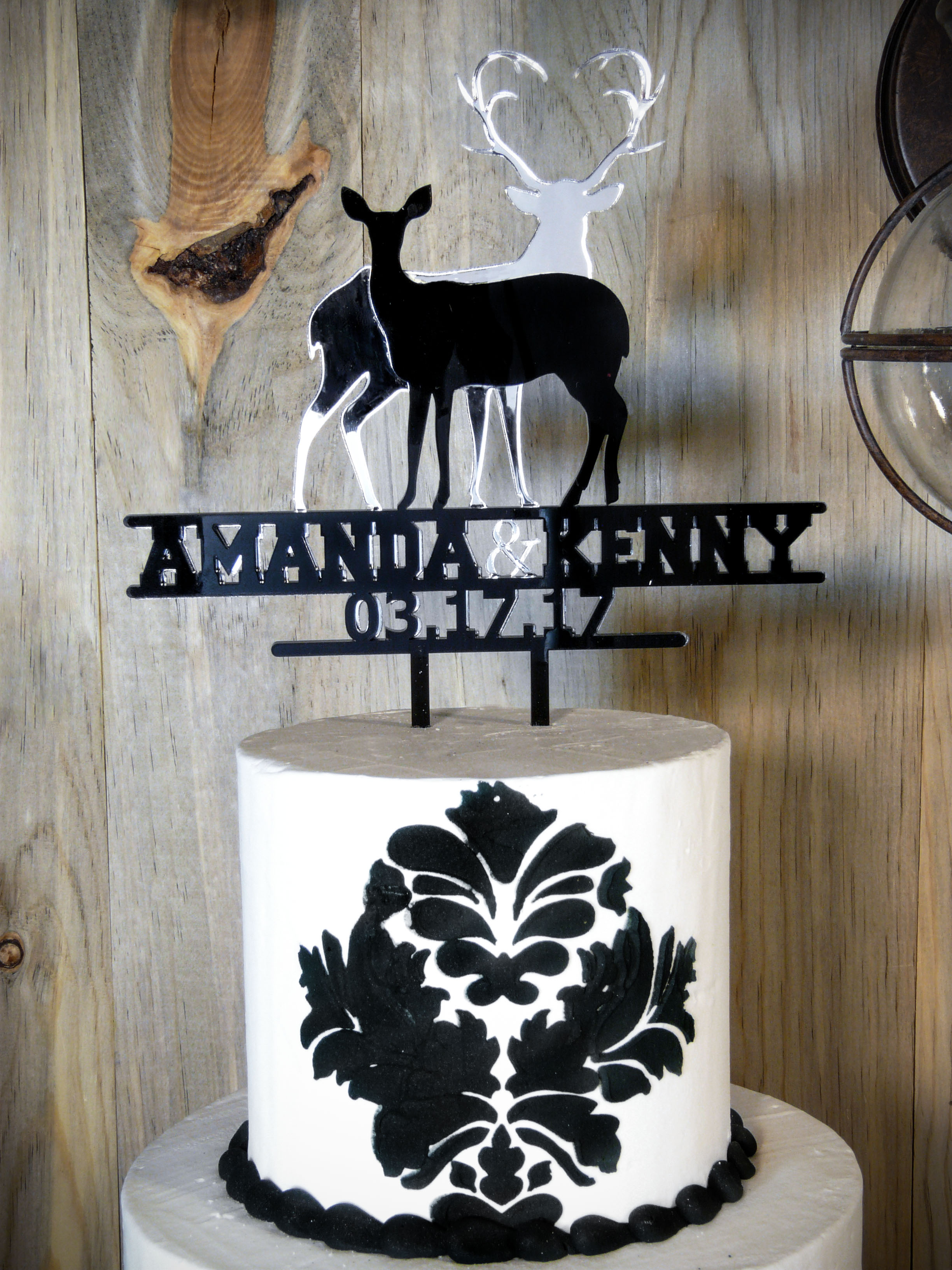 Deer silhouette wedding cake topper in mirror and black acrylic buck and doe mirror personalized wedding cake topper biocorpaavc Images