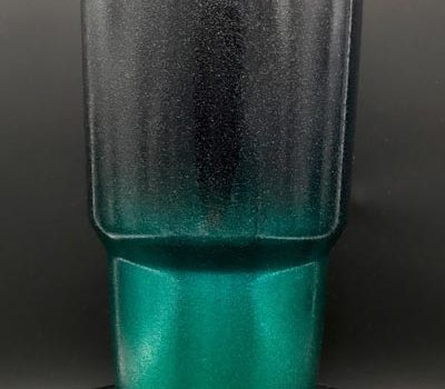 Teal Green to Black Ombre' Fade Glitter Powder Coated 30 oz Stainless Steel Tumbler