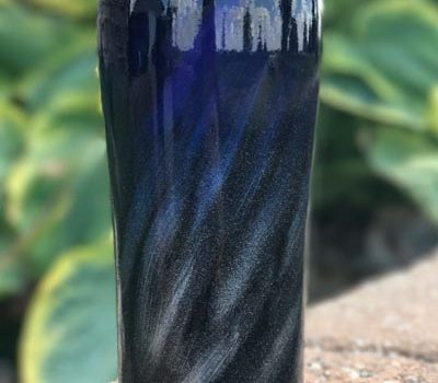 "Intense Blue, Black and Silver ""Northern Lights"" Powder Coated 20 oz Ozark Trail Tumbler"