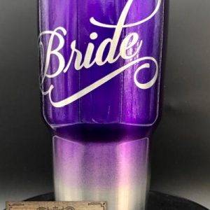 Ombre Purple Bride Tumbler 30 oz powder coated laser engraved stainless steel tumbler