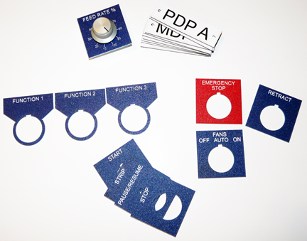 Electrical Panel Labels, Phenolic Tags, Lamacoids, Potentiometer Labels, Emergency Stop Button Labels and Custom ID Tags