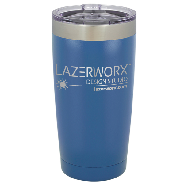 navy blue 20 oz powder coated insulated stainless steel tumbler tumbler laser engraved logo