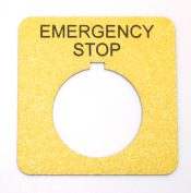 Standard Emergency Stop Labels - 800T Style or Round - Radiused corners available