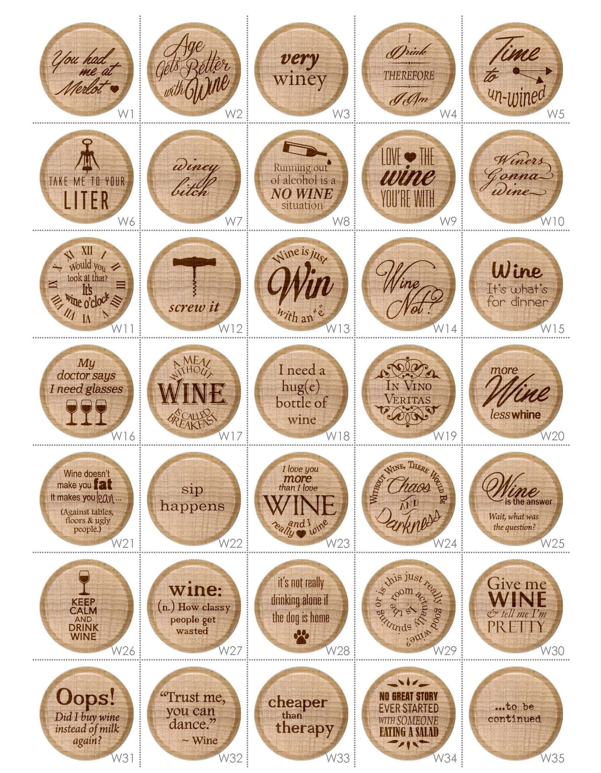 Funny wine puns engraved wood wine bottle stoppers