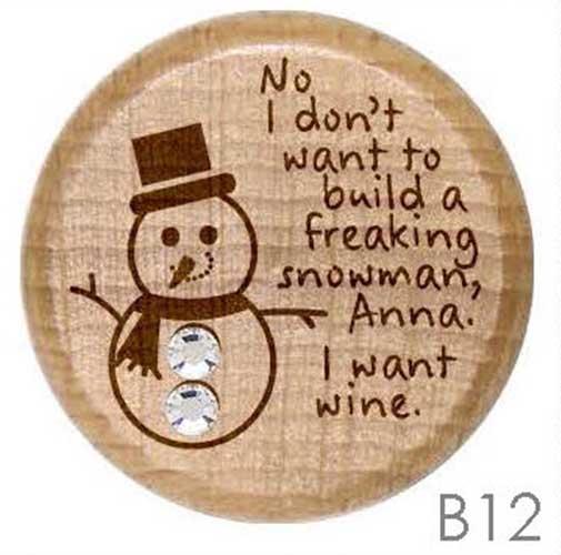 B12 - Frozen snowman Rhinestone Crystal Personalized Wine Stopper