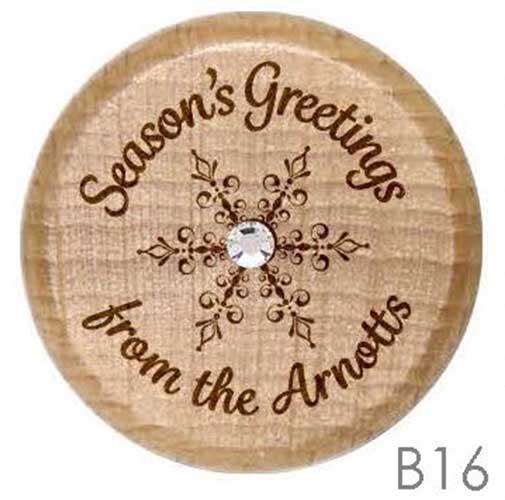B16 - Personalized Christmas Snowflake Rhinestone Crystal Personalized Wine Stopper