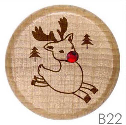 B22 - Leaping Christmas Reindeer Rhinestone Crystal Personalized Wine Stopper