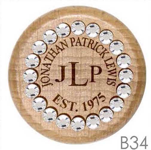B34 - Name & Monogram Rhinestone Crystal Personalized Wine Stopper