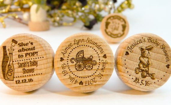 Baby Shower or Announcement personalized wine stoppers