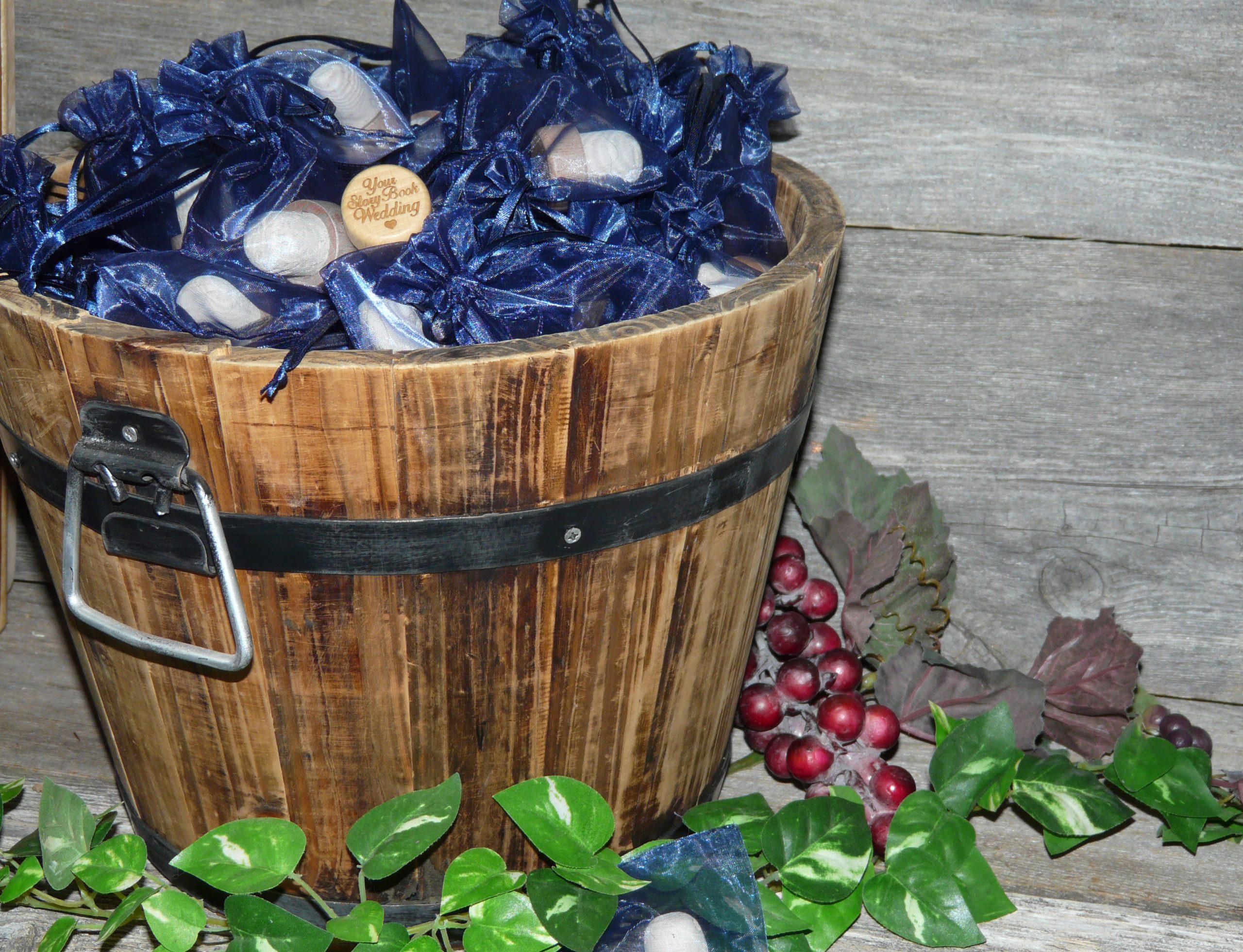 Bulk wine stopper wedding favor table display
