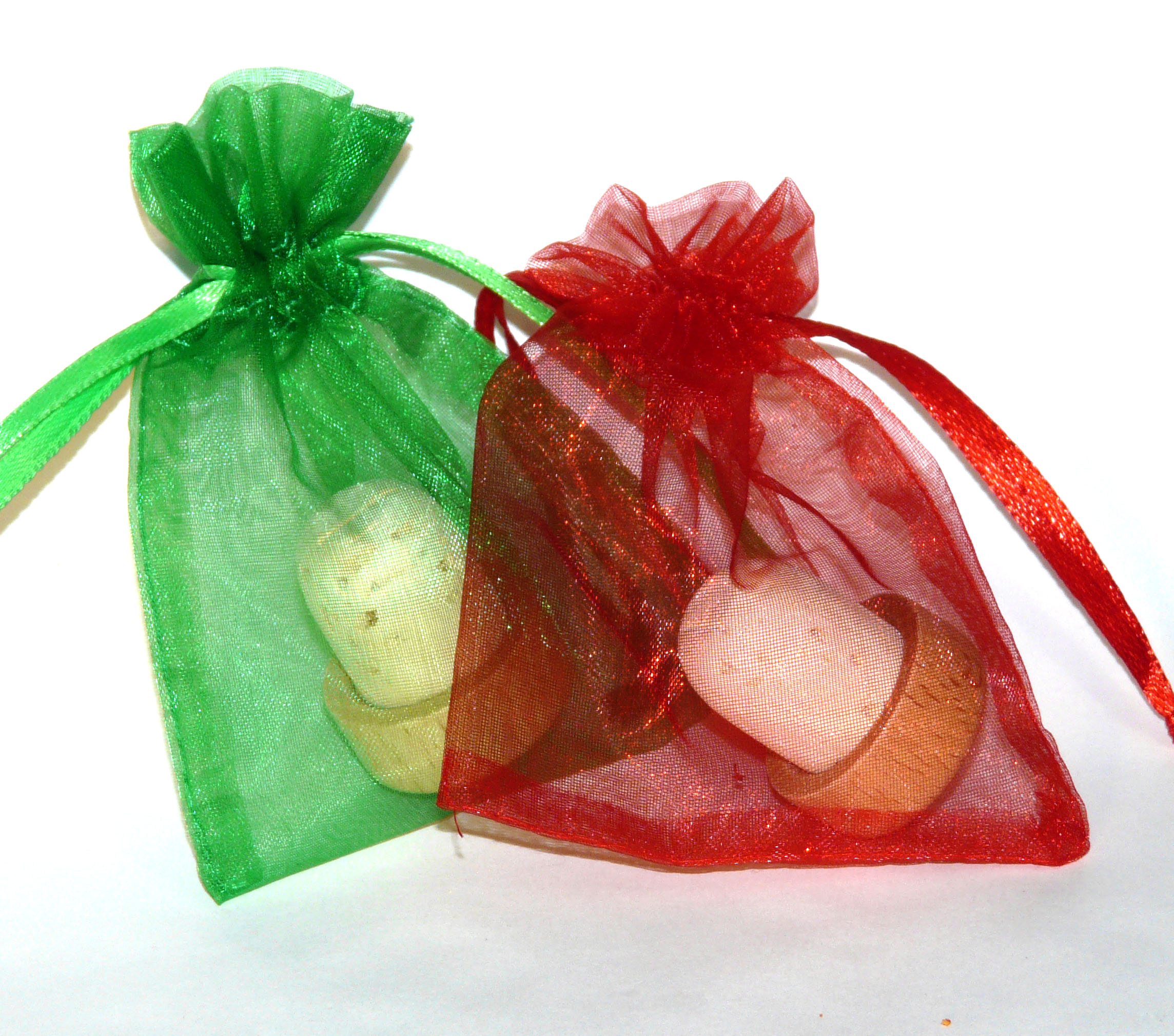 Christmas Mix 3 x 4 organza bags (Emerald Green, Red)