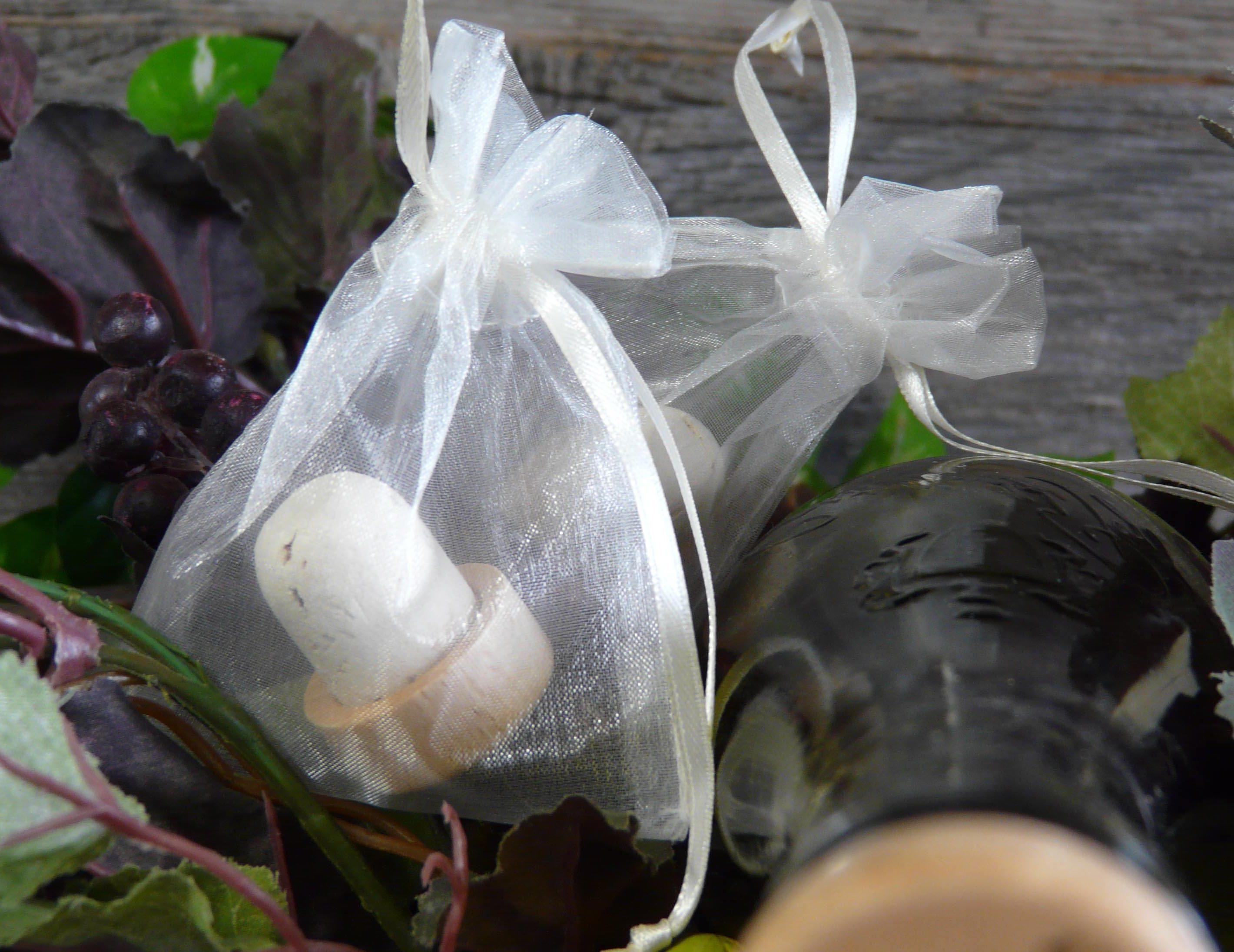 Order our organza bags with your personalized wine stoppers and they will come pre-packaged.