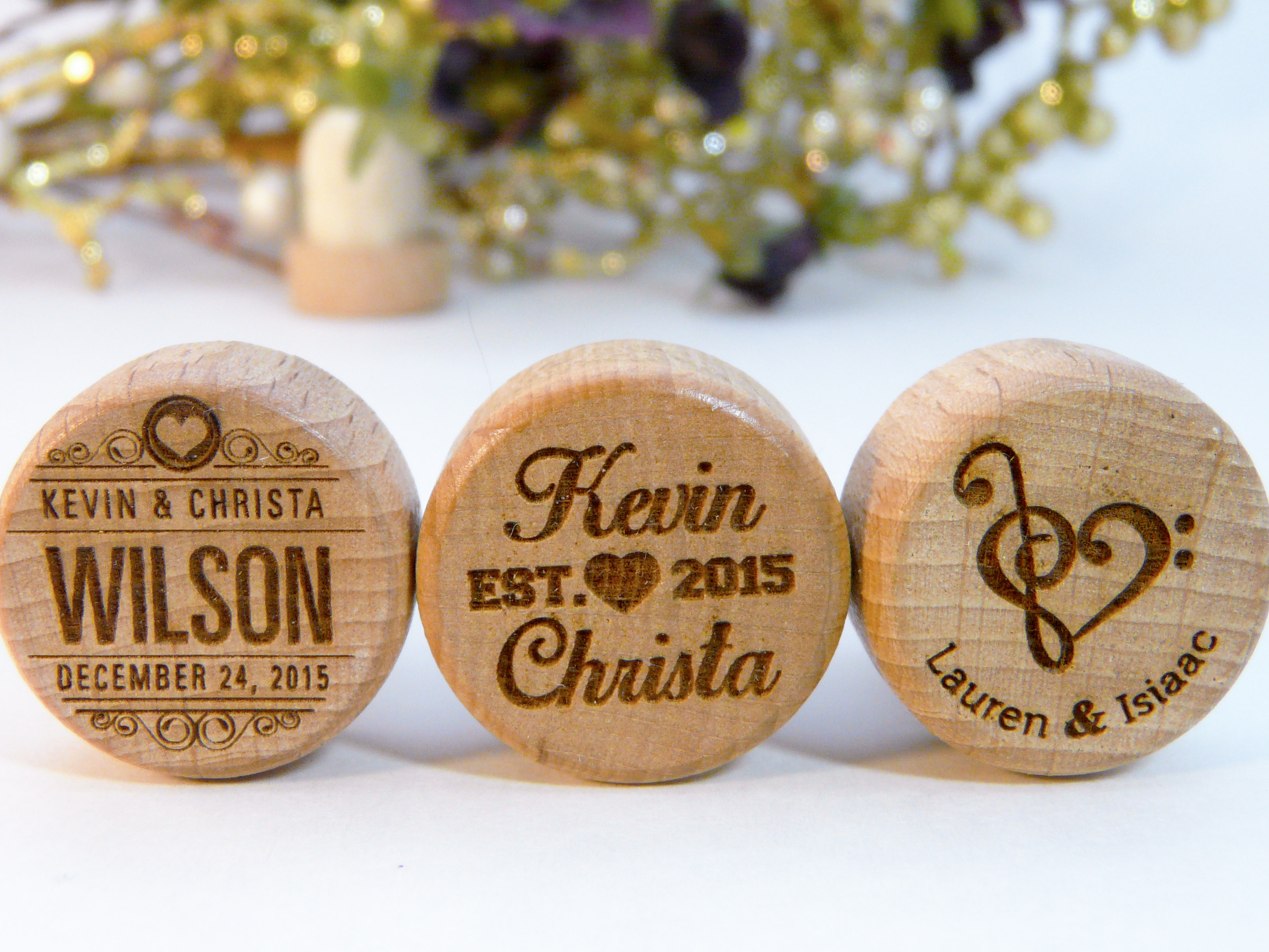 35 HEART & CALLIGRAPHY Personalized Wine Stopper Designs