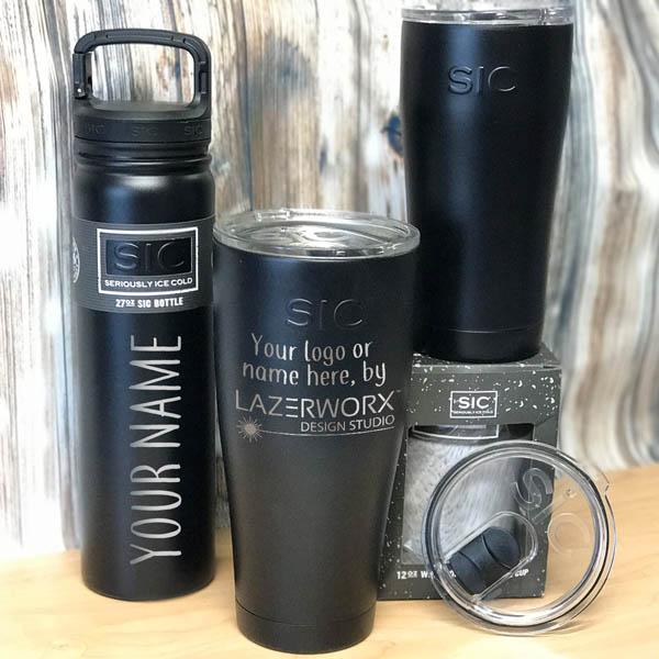 SIC-Cups-12-20-27-30-oz-tuff-black-steel-tumbler-bottle-laser-engraved-personalized-logo-lazerworx