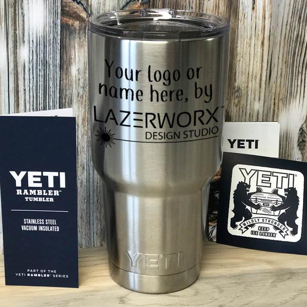 YETI-30-oz-silver-stainless-steel-tumbler-laser-engraved-personalized-logo-lazerworx