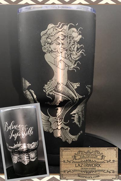 Beautiful Mermaid laser engraved on 30 oz Polar Camel Stainless Steel Tumbler - Can be Personalized