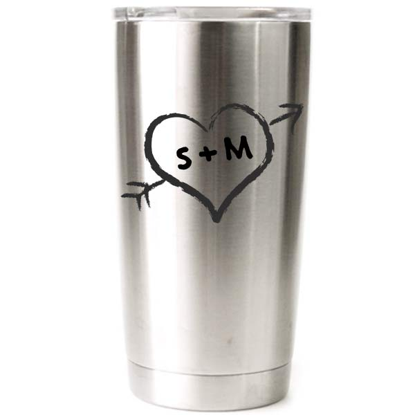 Personalized Yeti Tumbler With Wedding Heart Design
