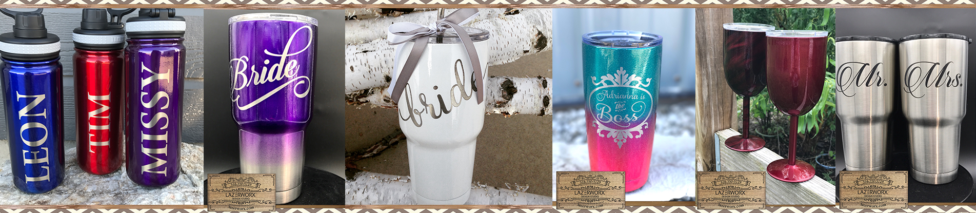 Lazerworx Design Studio offers custom powder coating, laser engraving, and design services for most brands and types of drinkware. Whether you need a personalized YETI Rambler, a custom Ozark Trail 30 oz glitter tumbler, or a large order of unbranded logo tumblers, we are here to help.